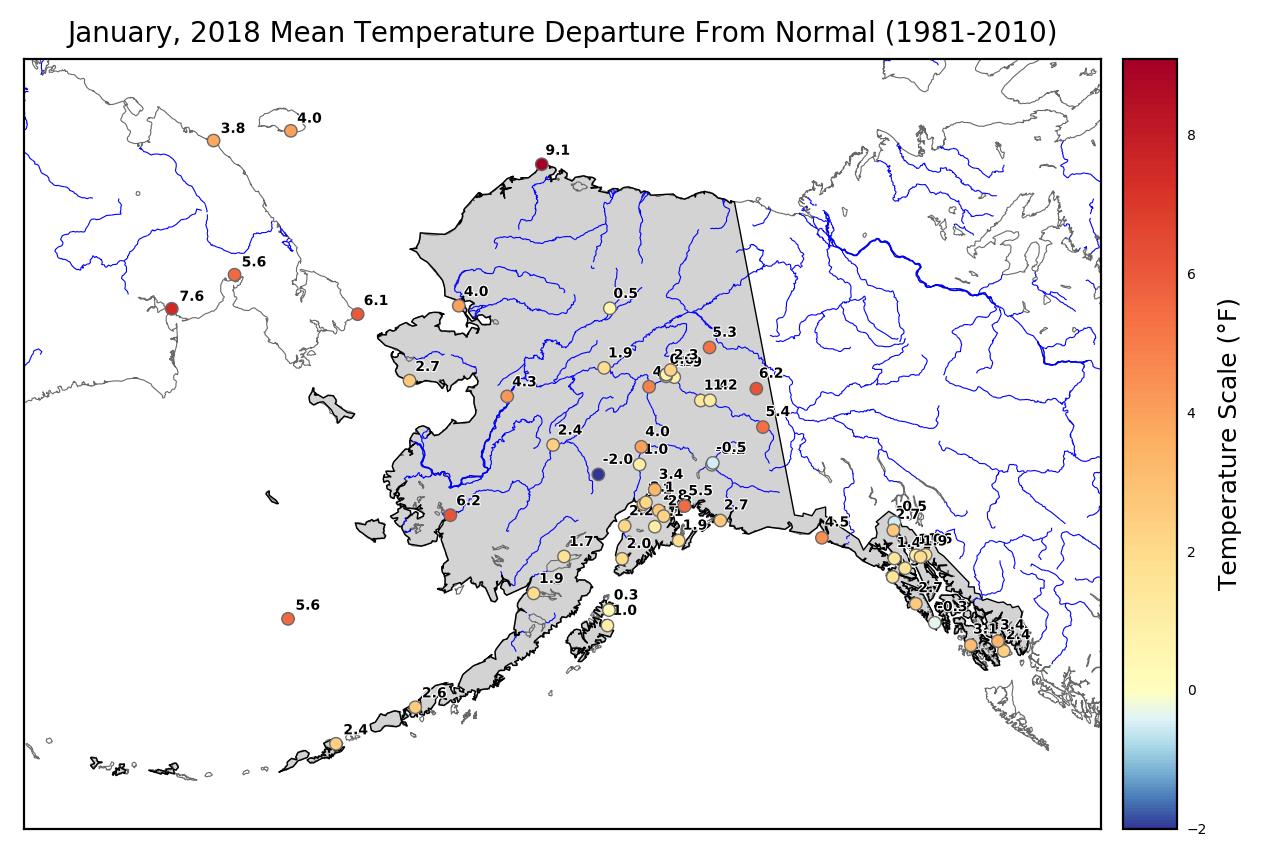 temp departure map